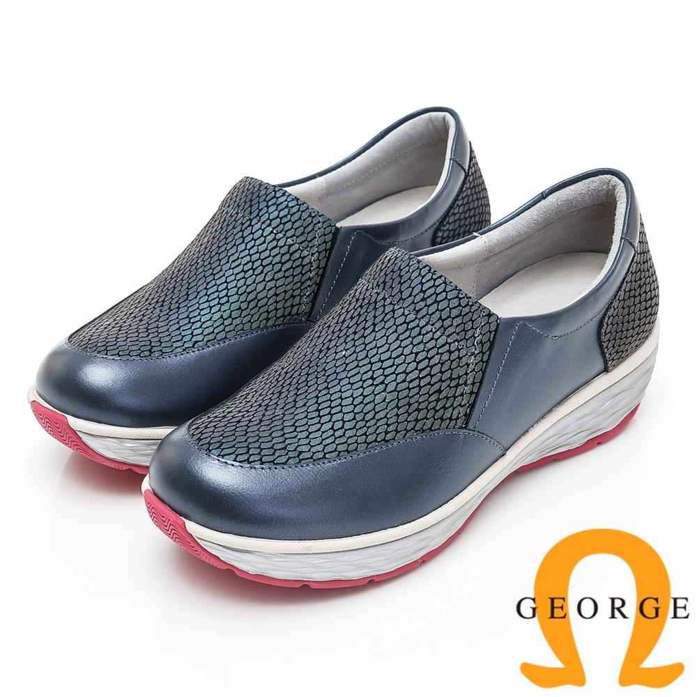 GEORGE 喬治皮鞋 素面變色拼接厚底休閒鞋-藍色