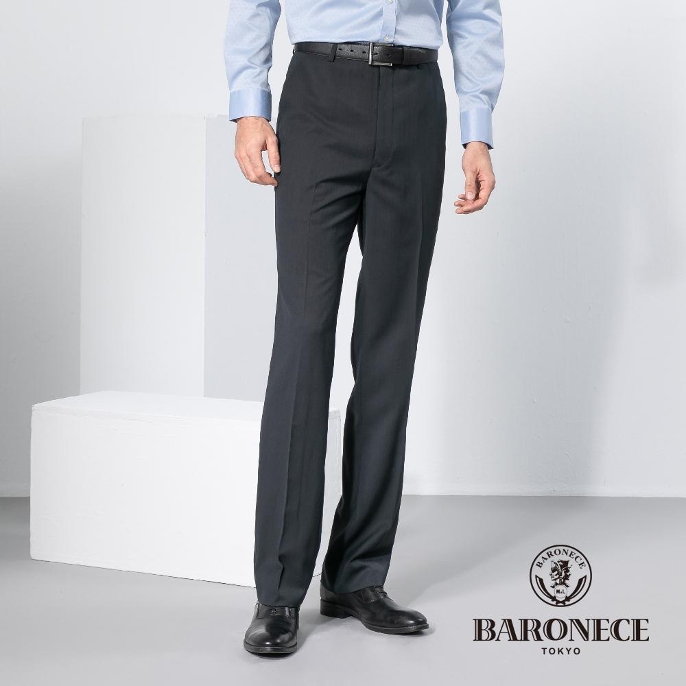 BARONECE 百諾禮士休閒商務  男裝 直紋緹花平口休閒西裝褲-深灰色(1188852-97)