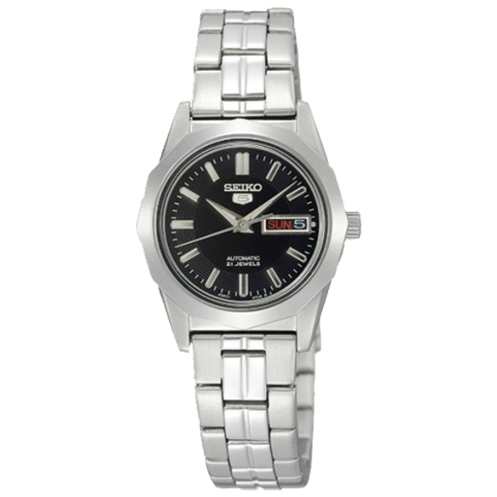 SEIKO 睿智思惟5號手動機械不鏽鋼女錶 (SYMH63J1)-黑x24.2mm