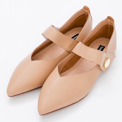 River&Moon中大尺碼-瑪莉珍超纖Q軟橡膠平底尖頭鞋-棕