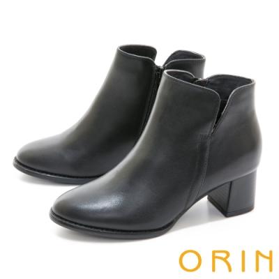 ORIN 經典素面真皮粗跟 女 短靴 黑色