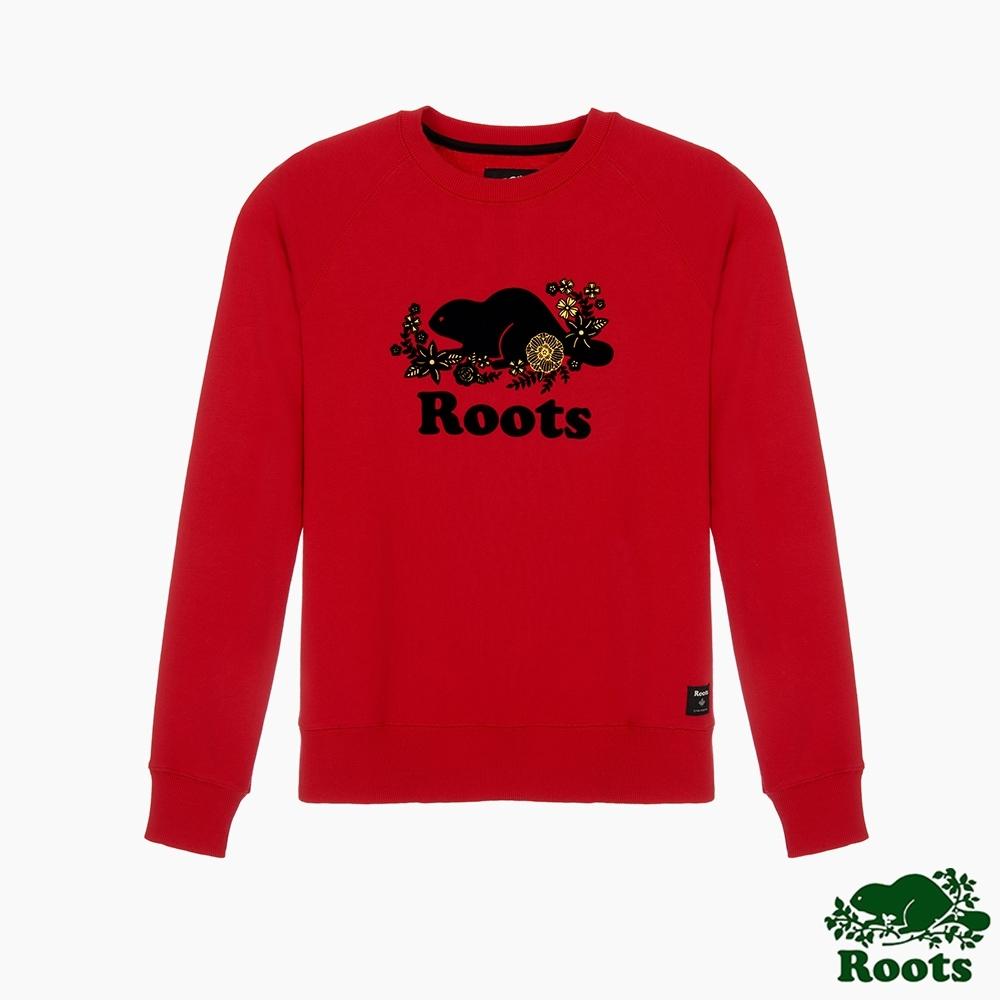 Roots女裝- 農曆新年系列 修身版花卉圓領上衣-紅色