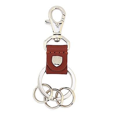 DAKS 經典家徽金屬LOGO皮革鑰匙鎖圈-紅棕色