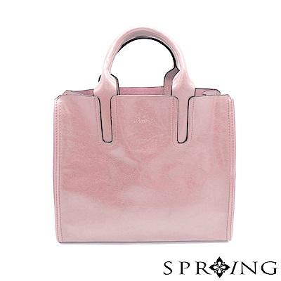 SPRING-朴秘書的柔軟真皮方包-花兒粉
