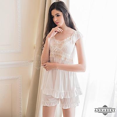 大尺碼 甜美純白短袖睡衣短褲二件組 L-2L Annabery