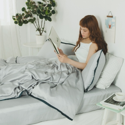 絲薇諾 60支天絲 霧灰 雙人四件式-薄床包薄被套組