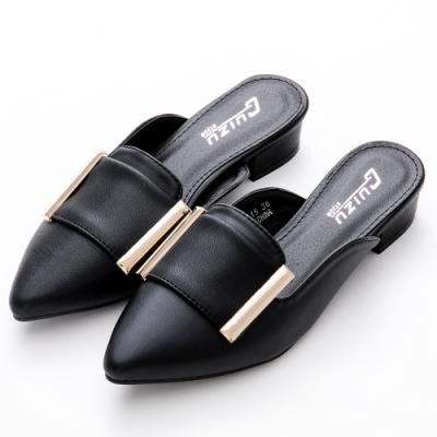 River&Moon大尺碼穆勒 名媛時尚金屬造型尖頭低跟鞋 黑