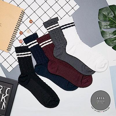 阿華有事嗎 韓國襪子 學院風麻花紋中筒襪 韓妞必備中筒襪 正韓百搭純棉襪