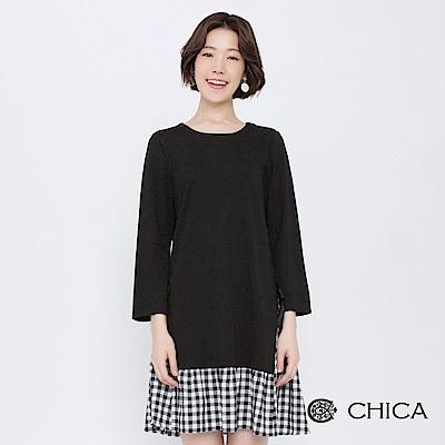 CHICA 甜心奧莉拼接格紋側綁帶洋裝(1色)