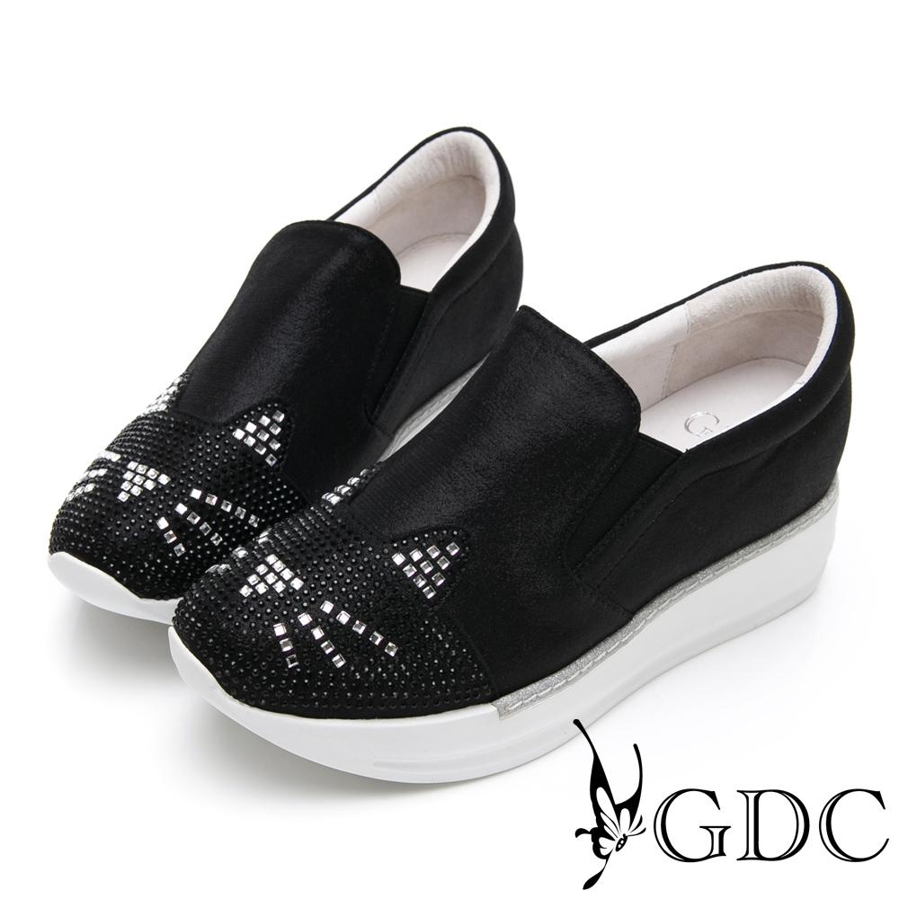 GDC-俏皮貓咪水鑽厚底舒適休閒鞋-黑色