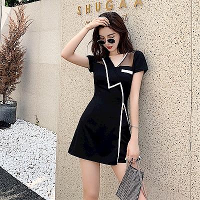 DABI 韓系時尚連身裙修身短褲套裝短袖褲裝