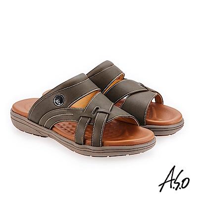 A.S.O 輕量樂活 蠟感牛皮都會休閒涼拖鞋橄欖綠