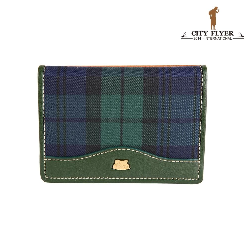 【CITY FLYER】RFID植鞣皮配綠格悠遊卡壓扣零錢包-綠色 真皮錢包 皮夾 短夾 手拿包 零錢包