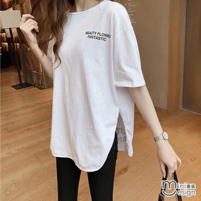 Mini嚴選-字母印花寬鬆短袖上衣 三色