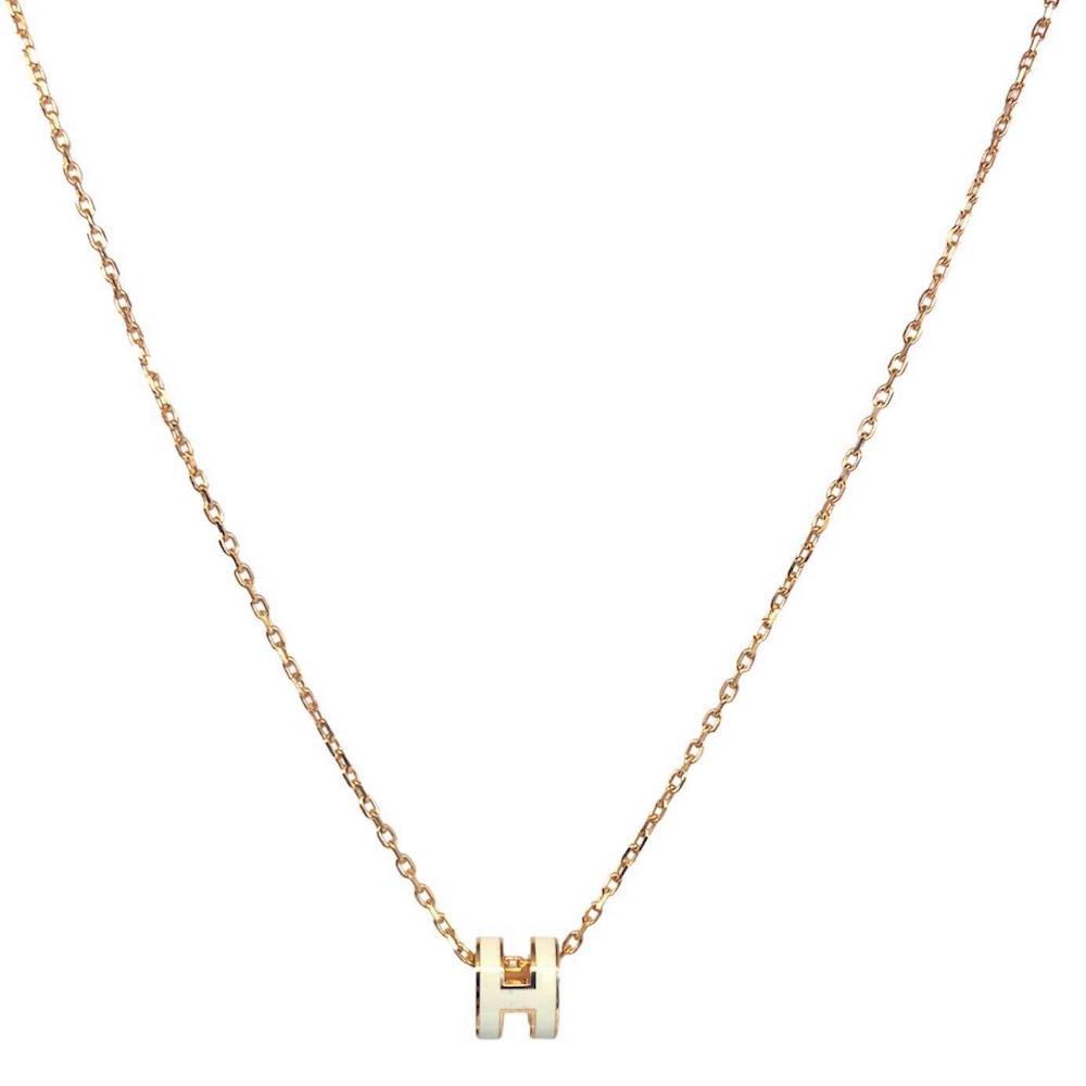 HERMES Mini Pop H 項鍊(白色/玫瑰金)(奶茶色/玫瑰金)