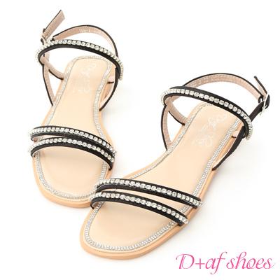 D+AF 閃閃盛夏.細緻雙帶水鑽寶石涼鞋*黑