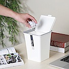 創意達人白色時尚掀蓋垃圾桶(小)3入組