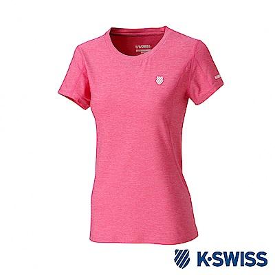 K-SWISS  PF Melange Tee排汗T恤-女-桃紅