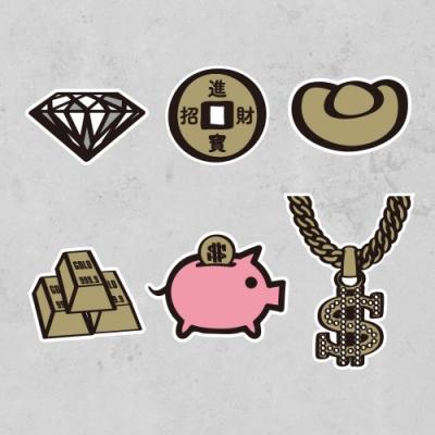 佳墨-造型貼紙-塗鴉系列-Money Money-6入組