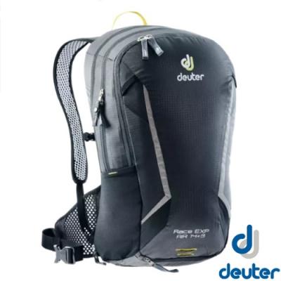 Deuter 新 Race EXP Air 14+3L 超輕全功能網架式透氣單車健行背包(附防雨罩)_軍黑