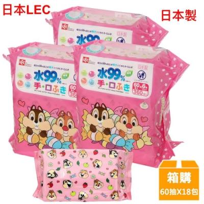 日本LEC 迪士尼奇奇蒂蒂-口手專用純水99%濕紙巾箱購-60抽x18包入