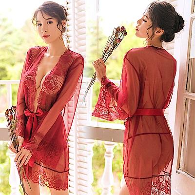情趣罩衫 艷紅絲質睡袍 EM衣柔魅姬(紅色)