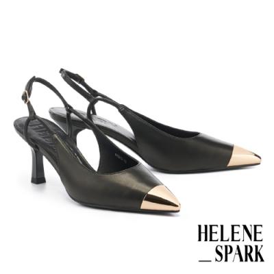 高跟鞋 HELENE SPARK 現代經典美學金屬拼接羊皮尖頭後繫帶高跟鞋-黑