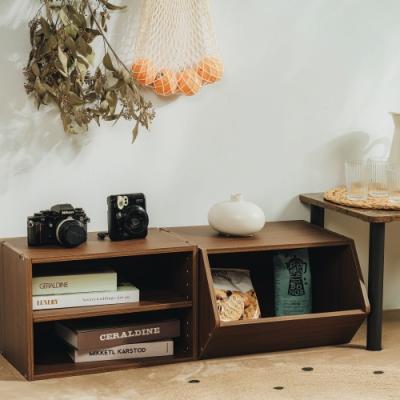 樂嫚妮 DIY 日式 收納櫃/置物櫃/玩具櫃-淺胡桃木色2入組-42X28.2X28.8cm