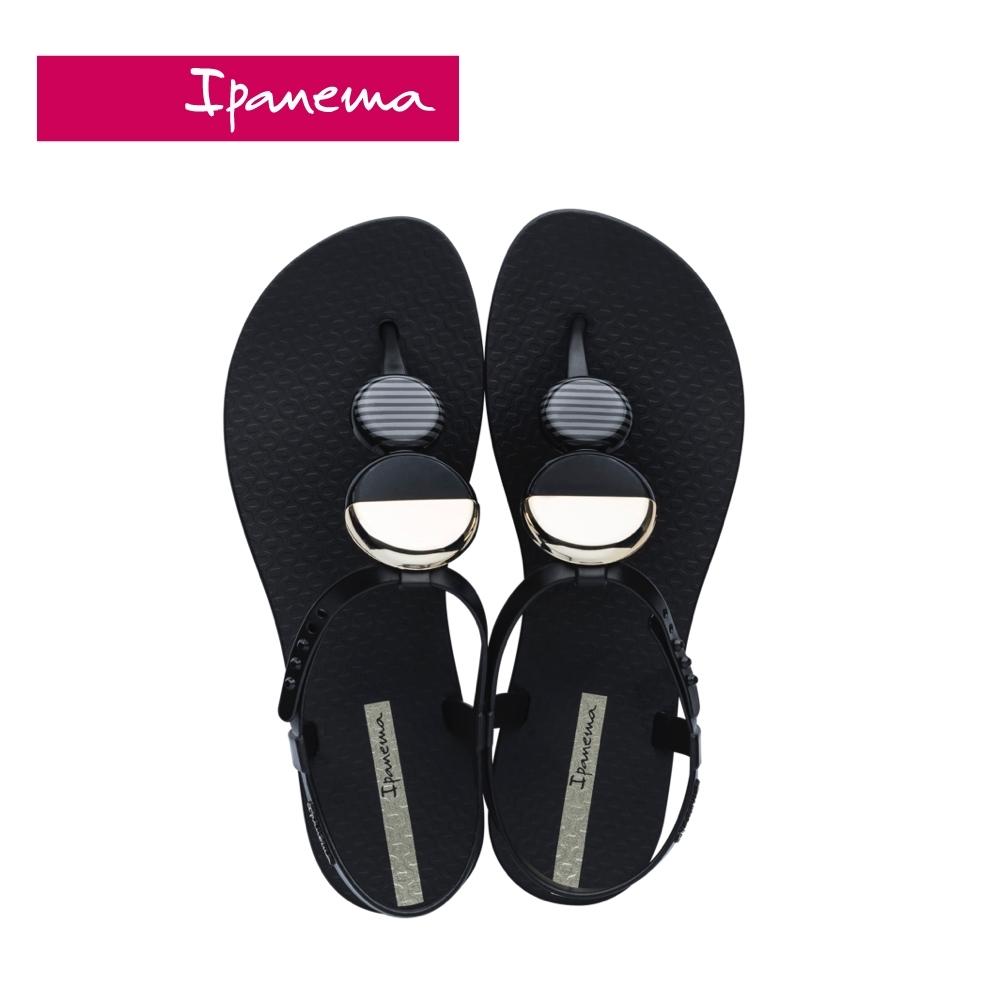 Ipanema ELLA FEM圓型幾何裝飾T字涼鞋-黑