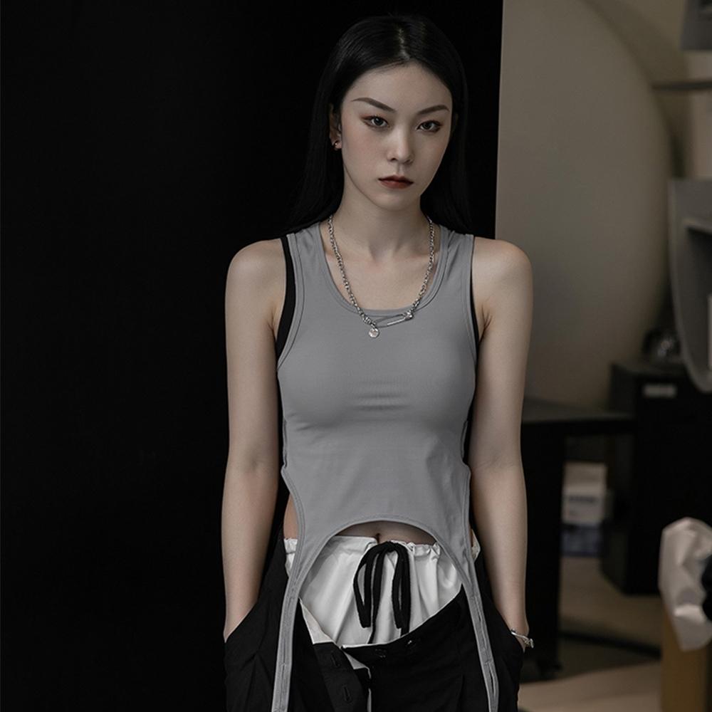 設計所在Style-韓版設計師款個性兩穿百搭顯瘦背心 (灰色)