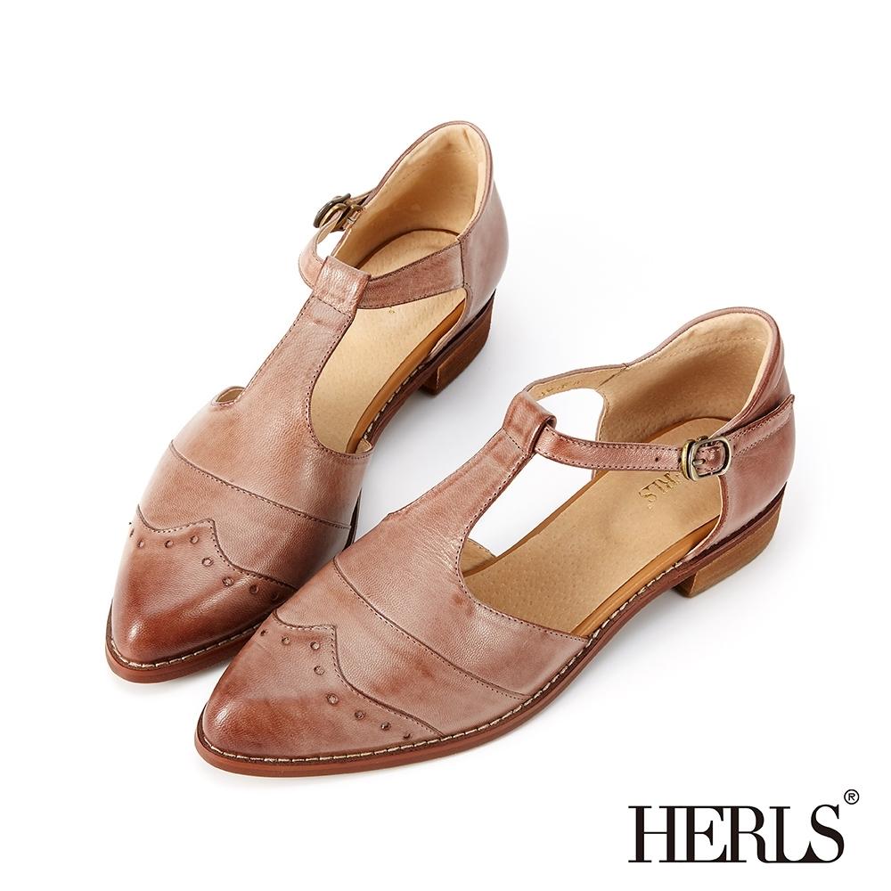 HERLS 全真皮沖孔T字瑪莉珍低跟鞋-栗棕灰色