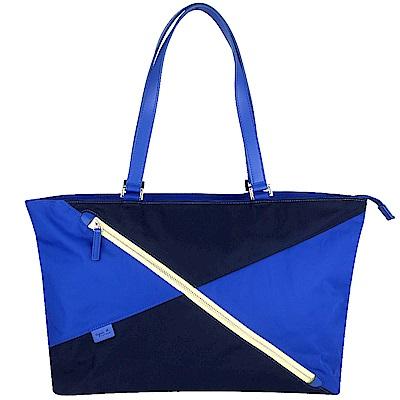 agnes b. voyage 藍深藍雙色尼龍布拉鍊托特包(大)