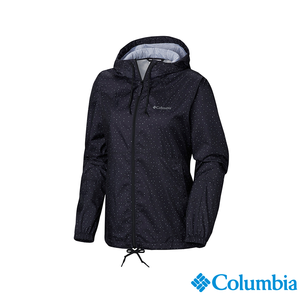 Columbia 哥倫比亞 女款-防潑水風衣-黑色圓點 UKR30130HH