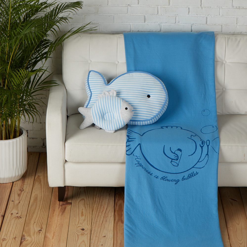 YVONNE COLLECTION 泡泡魚雙人薄紗被(6x7呎)-藍