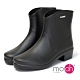 mo.oh愛雨天柔軟粗跟短筒雨鞋黑色 product thumbnail 1