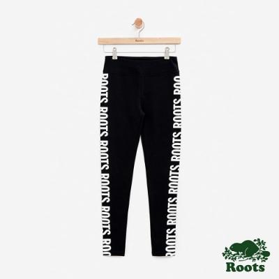 女裝Roots-大LOGO彈性內搭褲-黑色