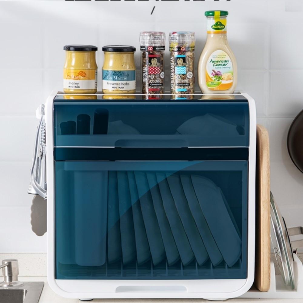 【AOTTO】日系時尚大容量碗盤瀝水架碗櫃(碗盤收納架置物架收納箱)