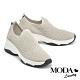 休閒鞋 MODA Luxury 簡約率性飛織拼接牛皮厚底休閒鞋-灰 product thumbnail 1