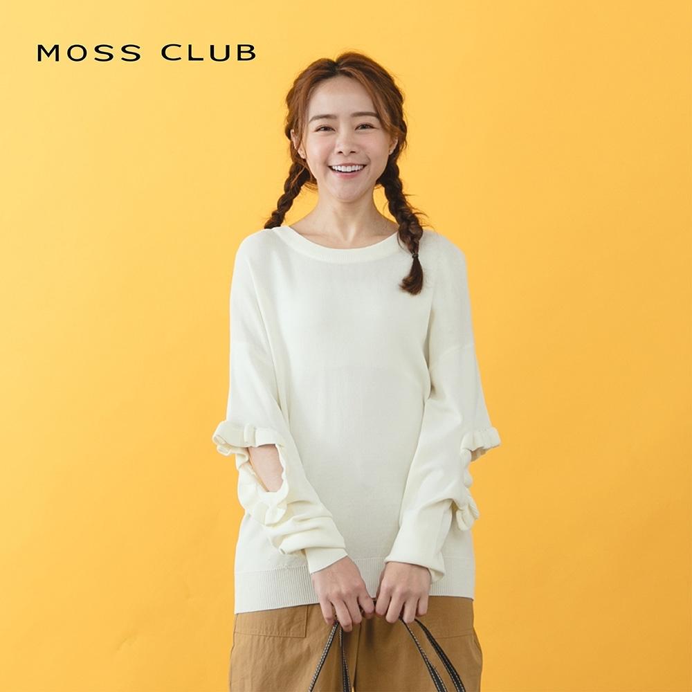 【MOSS CLUB】 鏤空荷葉袖-針織衫(三色)