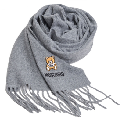 MOSCHINO 義大利製美麗諾羊毛小熊TOY圖騰字母LOGO刺繡圍巾(灰色)