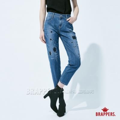 BRAPPERS 女款 Boy Friend系列-彈性割破補丁八分褲-深藍