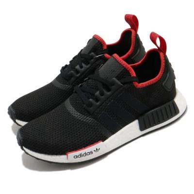 adidas 休閒鞋 NMD R1 襪套式 男女鞋 愛迪達 三葉草 Boost底 緩震 情侶鞋 黑 紅 FZ3449