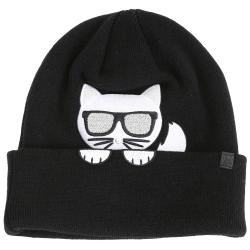 K/IKONIK 刺繡傳奇貓黑色羊毛混紡針織帽