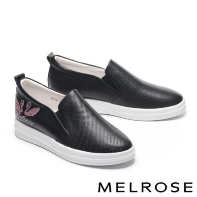 休閒鞋 MELROSE 簡約質感水鑽電繡全真皮厚底休閒鞋-黑