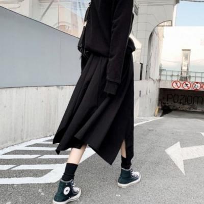 La Belleza黑色鬆緊腰抽繩布繩不規則裙擺中長裙