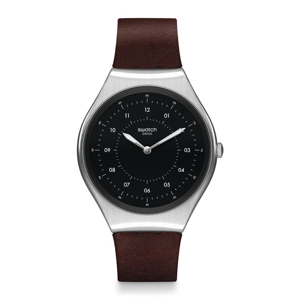 Swatch 超薄金屬系列 SKINBRUSHED 質感棕手錶