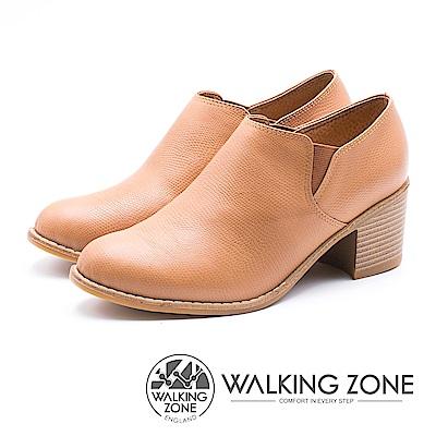WALKING ZONE 柔軟皮革鬆緊高跟踝靴 女鞋 - 棕 (另有黑 )