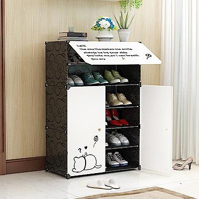 【Mr.Box】6層3門專利卡通貼紙防塵鞋櫃/整理收納組合櫃
