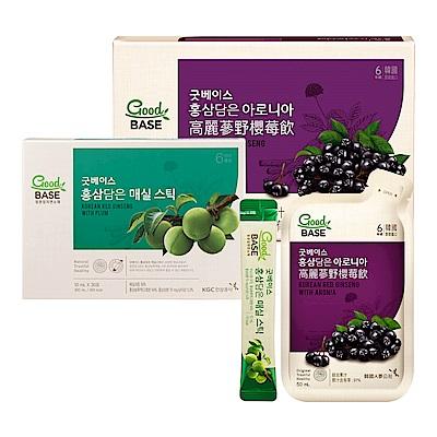 【正官庄】高麗蔘野櫻莓飲 (50mlX30入)/盒 +高麗蔘青梅順暢飲Stick(10mL*30包)/盒