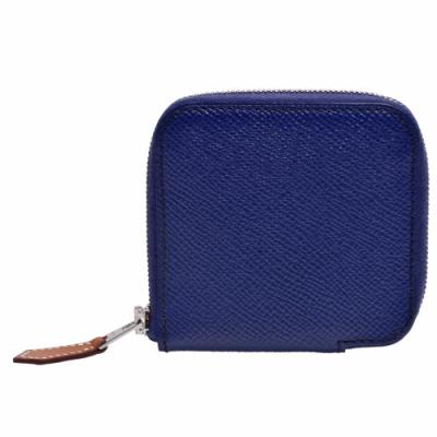 HERMES 經典silk in系列EPSOM小牛皮拉鍊絲巾零錢包(靛藍)